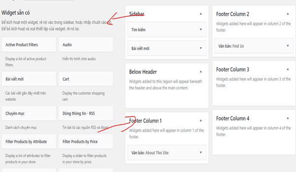 hướng dẫn sắp xếp widget trong wordpress