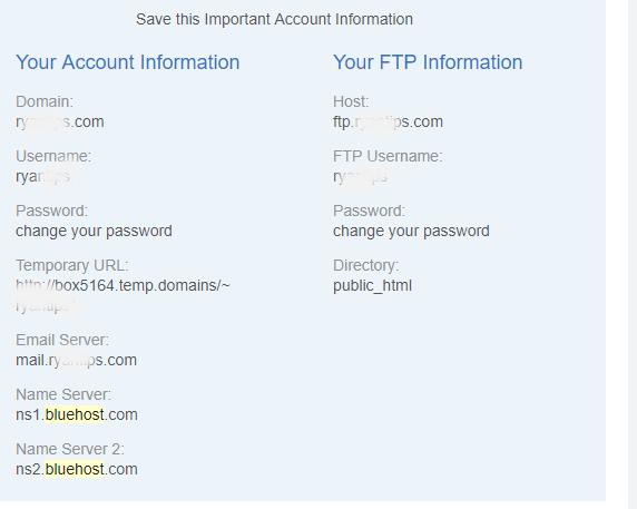 thông tin đăng nhập bluehost lấy ở đâu