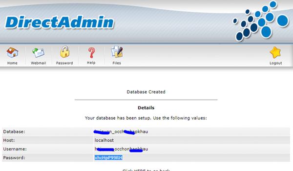 các bước tạo cơ sở dữ liệu trên direct admin