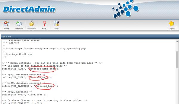 thêm database username password trên host direct admin