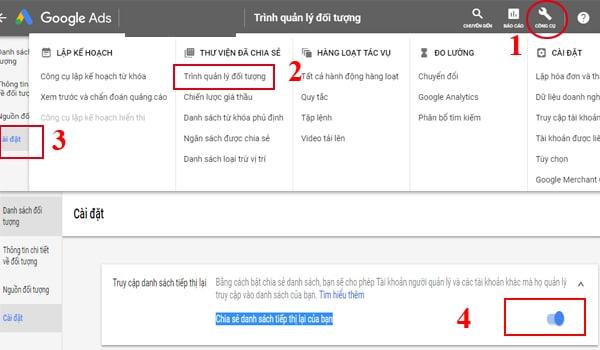 Cach Chia Se Danh Sach Tiep Thi Lai Trong Tai Khoan Google Ads Ca Nhan