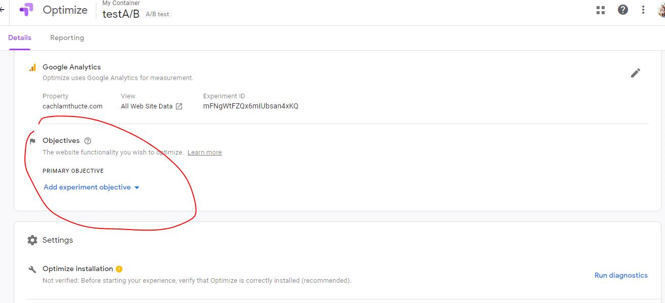 Chon Muc Tieu Toi Uu Trong Google Optimize